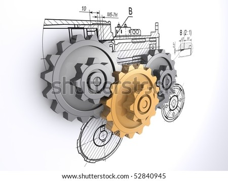 two metallic gray and one golden gears against a background of engineering drawings with shadow - stock photo