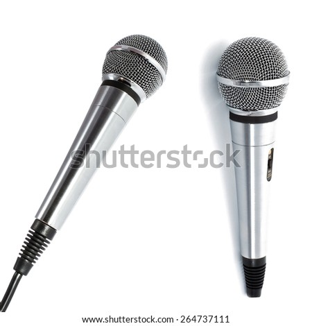 Two microphones on white background - stock photo
