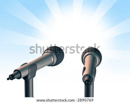 Two microphones over a light blue background. Digital illustration. - stock photo