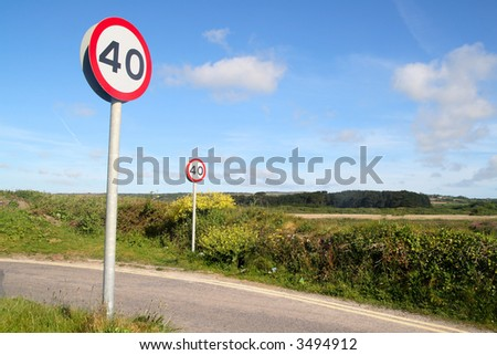Two 40 miles an hour signs on a country lane. - stock photo