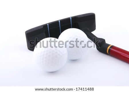two mini golf balls and club on white background with shadows - stock photo