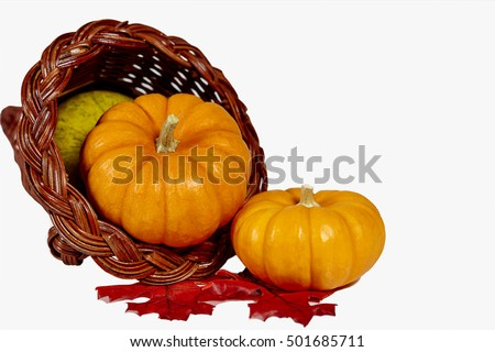 Two mini pumpkins and squash with fake leaves in a  horn of plenty isolated on white with shallow depth of field