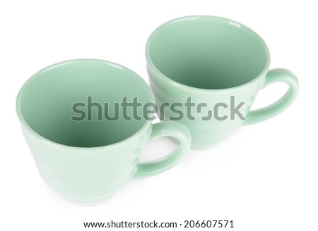 Two mint cups isolated on white