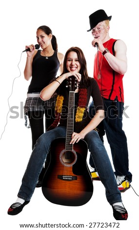 Two mixed race girls and an albino african guy in a musical trio.  Shot on white background.