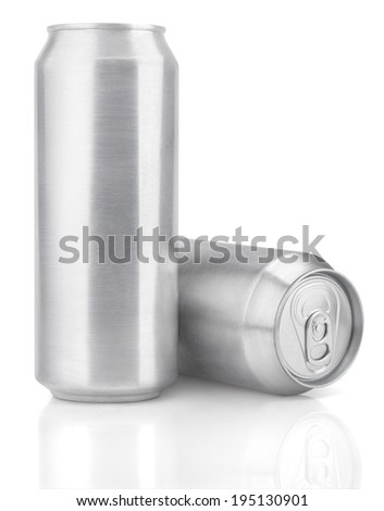 Two 500 ml aluminum beer cans isolated on white - stock photo