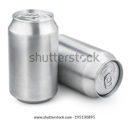 Two 330 ml aluminum soda cans isolated on white - stock photo