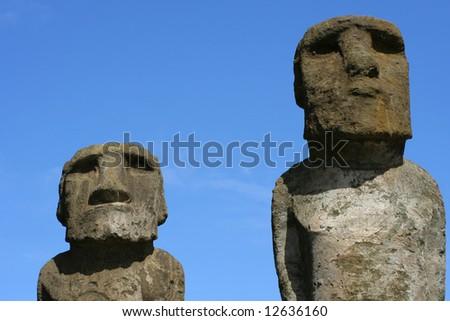 Two Moais at Ahu Tongariki, Easter Island - stock photo