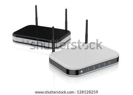 two modem router in different colors (3d render) - stock photo