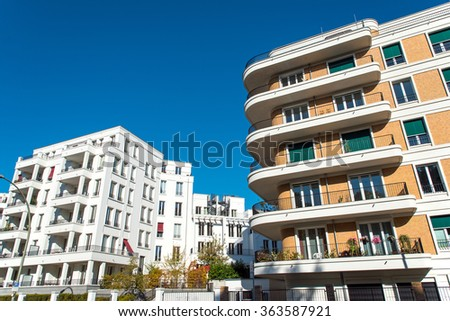 Two modern apartment buildings in Berlin, Germany - stock photo
