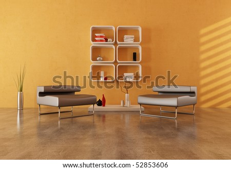 two modern armchair on concrete floor in a modern lounge - stock photo