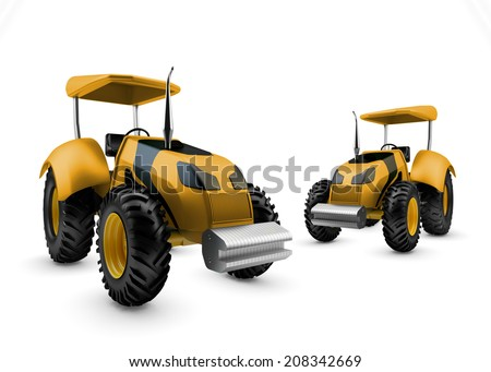 Two Modern farm tractors isolated on white background - stock photo
