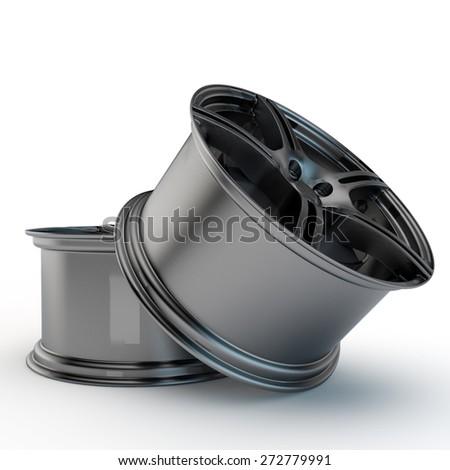 two modern light-alloy rims - stock photo