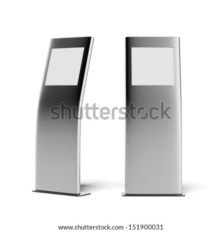 two modern metal advertising stands - stock photo