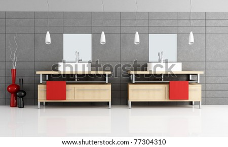 two modern sink in a minimalist bathroom with black  tiles - rendering - stock photo