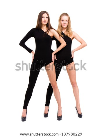 two modern style dancers sexy girls wearing leotard isolated over white background  in full length.