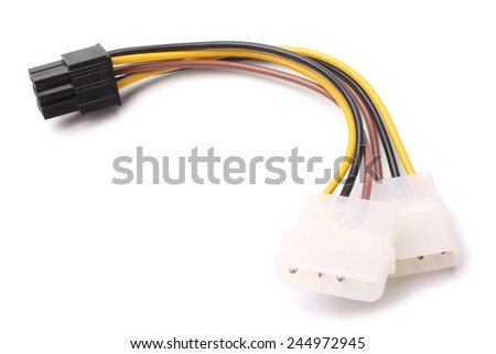 Two Molex connectors to one 6-pin PCI Express connector on white background  - stock photo
