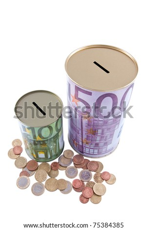 Two money boxes depicting the design of 100 and 500 euro notes, surrounded by euro coins. - stock photo