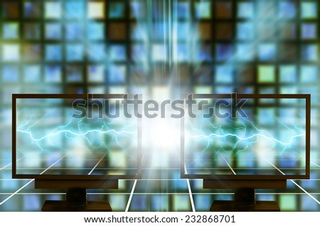 two monitors, computer connect concept - stock photo