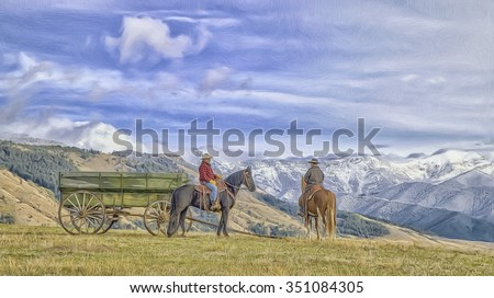 Two Montana cowboys on horseback with mountain background,photo art