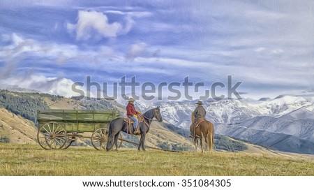 Two Montana cowboys on horseback with mountain background,photo art - stock photo
