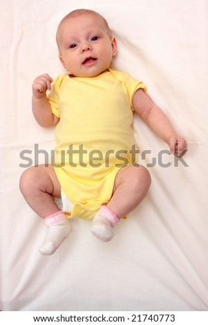 Two months white  baby girl - stock photo