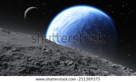 Two moons orbiting an Earth-like planet.  - stock photo