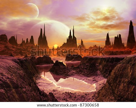 Two Moons over Alien Landscape at Twilight - stock photo