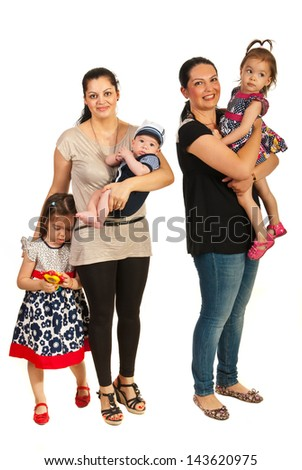 Two mothers with their kids isolated on white background - stock photo
