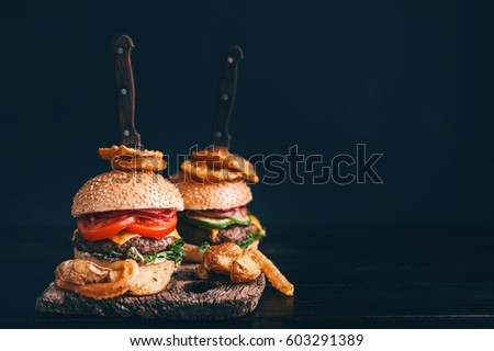 Exploded hamburger stock photo 266740349 shutterstock for Table burger
