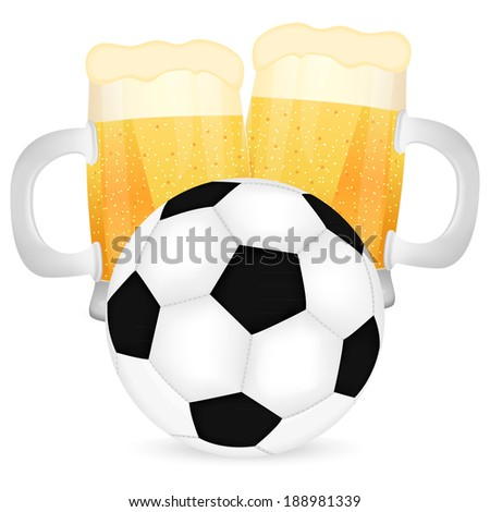 two mugs of beer and a soccer ball - stock photo