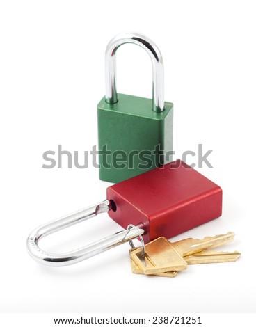 Two multi-colored padlocks - stock photo