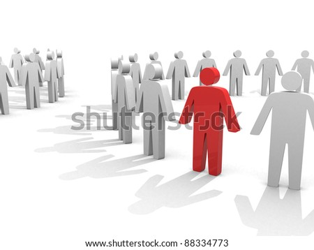 Two mystical circle - symbolizes two working collectives. figures holding hands together in a circle. One figure is marked red. - stock photo