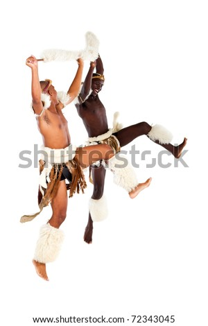 African Tribe Dance Two native african tribal man