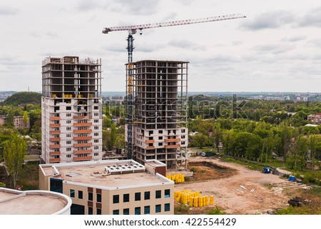 Two new building high-rise buildings - stock photo