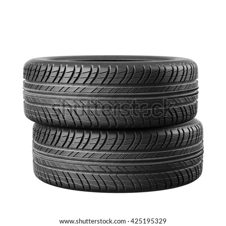 Two new car tires close up on white background. 3d illustration - stock photo