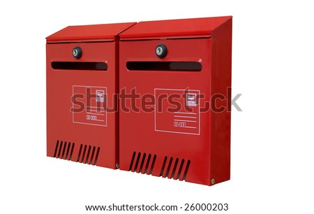 two new red metal postbox isolated