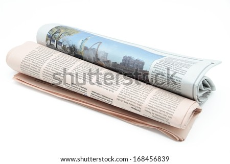 two newspapers on white background