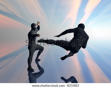 Two ninja with traditional black costume in fight, practicing eastern martial arts.  3D illustration for background or wallpaper purpose.