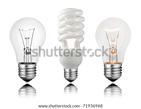 Two Normal and One Saver Lightbulbs with Reflection Isolated on White Background - stock photo