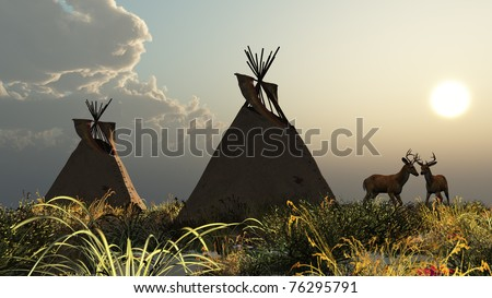 Two North American Indian Tepees in the tall wild grass of the Plains. Tall grass hazy cloud and sun sky. Two White Tail Deer bucks with antlers. Original illustration - stock photo