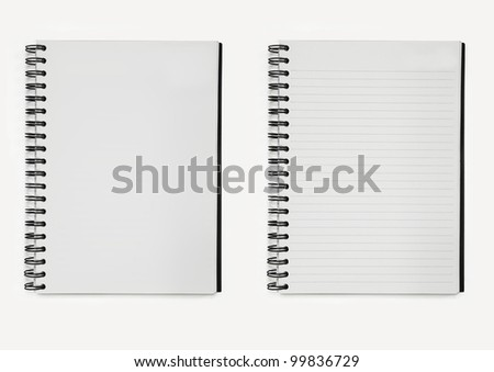 two notebooks paper spiral, line and without line. - stock photo
