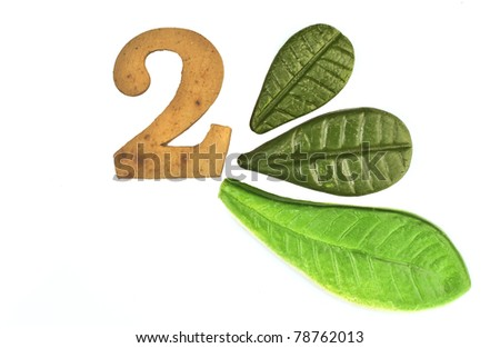 two numeric and leaves made from clay in pottery technique - stock photo