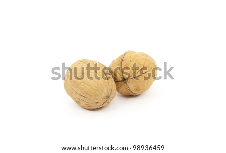 Two nuts on a white background