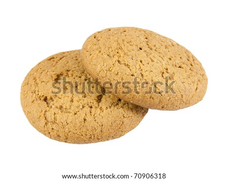 Two oatmeal cookies. Isolated on the white background. - stock photo