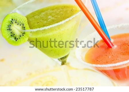 Two of color fruit drinks - stock photo