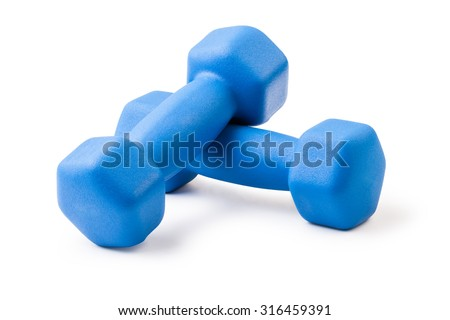 Two of dumbbells Isolated on white background - stock photo