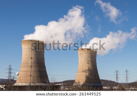 Two of four active cooling towers at the Three Mile Island nuclear power plant in Pennsylvania. - stock photo