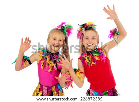 Two of happy children at the carnival - stock photo