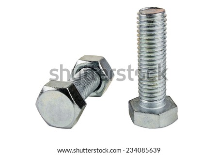 Two of metal screws and nut isolated on white background
