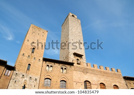 Two of the famous medieval towers of San Giminiano in the province of Siena, Tuscany, Italy.